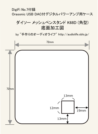 DigiFi付録アンプ用ケース加工図